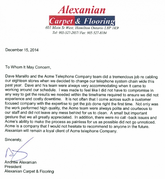 alexanian reference letter