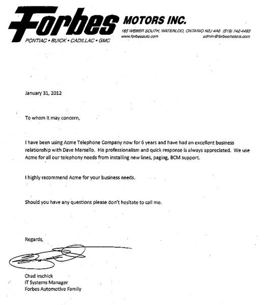 forbes motors reference letter