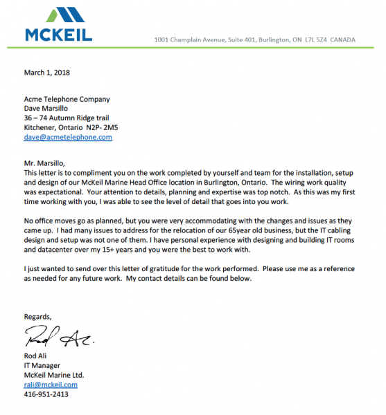 mckeil reference letter
